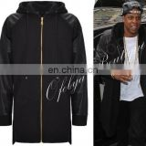 Dark Faux Leather Sleeve Extended Cotton Fleece Hooded Zip-Up