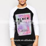 Men long sleeve crew neck longline T-shirt with print