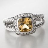 Sterling Silver 7mm Square Citrine Petite Ring
