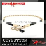 Exclusive PU Buck Material Silver Chain Belts For Women