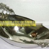 Oval Aluminium Salad Server Bowl With Leaf Pattern Handle 36x20x10