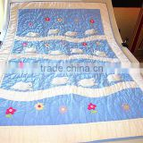 cotton baby bedding set applique embroidery hand quilted cot crib quilt with sham