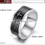 Fashion jewelry ring black The Spanish cross in the bible the Lord's prayer Titanium steel boyfriend gift