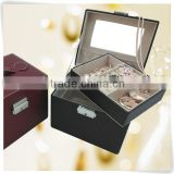 eco-friendly pu leather velvet Custom handle pyramid jewelry box