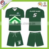 2015 new style Custom sublimation high quality black green soccer jersey wholesale