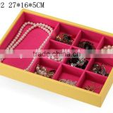 W1275Y-2 Wholesale Alibaba 10'' Stackable Jewelry Display Tray Wooden Jewelry Case Leather Jewelry Tray