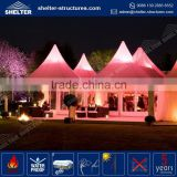 Cheap price PVC fabric coated waterproof aluminum pergola gazebo with curtain and flame retardant pyramid pagoda tents for sale