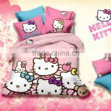 High quality 100% cotton reactive printed hello kitty bedding sets for children