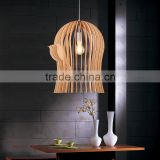 Modern Bird Cage wood Pendant lamp for living room