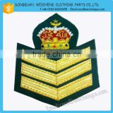 Handmade Bullion Wire Badges | Military Fashion 2015 hand embroidery gold bullion wire badges, crest, patch