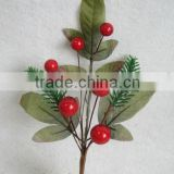 "high quality newest special artificial holly leaves and foam red berry pick 10"" branches pick for chrismas home decoration pick"