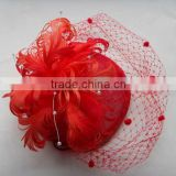 Red Fascinator with birdcage veil