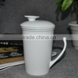 chinese white porcelain tea cup mug with filter and lid