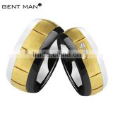 Female White and black Zirconia Ceramic Ring,Women Ceramic Wedding Bands