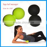 Elastic rubber rolling silicone double cross ball massager