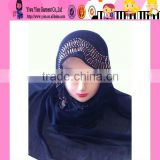 Black Muslim New Fashion Style Scarfs Long Beaded Hijabs