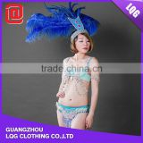 Unique design sexy blue beaded rhinestone feather showgirl clothing wholesale carnival costume