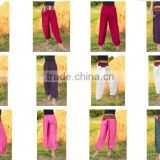 VTG HIPPIE BOHO oriental harem rayon gypsy yoga belly dance art fisherman Tribal Pants Trousers pants