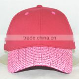 Guangzhou hat factory professional custom 6 panel / 100% cotton/pink/brim printing/baseball cap