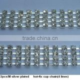 ss16 4 rows hot-fix rhinestone Cup Chain