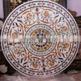 Fashionable White Marble Inlay Work Dinning Table top