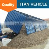Titan widely used hydraulic self discharge sand 3 Axles 100 Ton Semi tipper truck trailer , side dump trailer for sale
