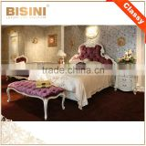 French Graceful Wood Carving Bedroom Set, Luxury Home Bedroom Furniture, Fancy Purple Fabric Upholstering Super King Size Bed