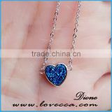 Best S925 Sterling Silver Druzy Cabochons Necklace Heart 8mm Natural Drusy Agate Stone Pendants