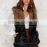 2016 new hot sale winter/autumn long faux fur splicing color vest