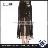 MGOO New Arrival Custom OEM Women Sequin Transparent Sexy Skirts For Women Two Layers Chiffon Long Skirt 15145A221