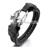 Men's Stainless Steel Genuine Leather Bracelet Bangle Cord Silver Black Bat Wing Biker