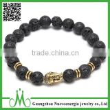 Wholesale fashion, black lava volcanic stone bracelets, gold mens Buddha bracelet.                                                                         Quality Choice