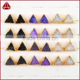 Natural 12mm triangle drusy druzy stone jewelry stud earrings
