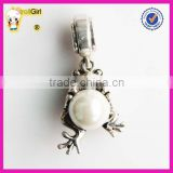 Authentic European Style Beads 925 Silver Frog Charm with Pearl
