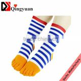 OEM colorful stripe sock girls pink blue five toe socks