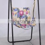 Foldable single seat hanging rope swing chair with stand