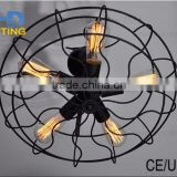 Iron chandelier fan cage edison ceiling light industrial pendant lamp