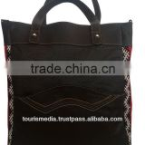 Wholesale handmade Moroccan kilim tote bags genuine leather handwoven kilim handbag ref08
