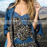 Wholesale Cheap Sexy Ladies Blue Leopard Printed Lace Trimed Silk Sleep Kimono Robe Dress Set