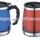 2014 hot sale high quality double wall stainless steel plastic mugs with handles                                                                         Quality Choice