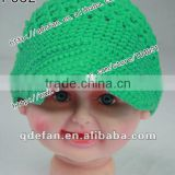 wholesale 100% cotton newsboy crochet baby hats knitted spring hats for children green sun visor hat