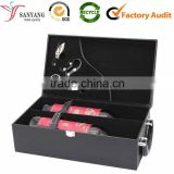 Customized Logo PU Leather Wine Box Wine Bottle Set Packaging Box With Handle