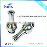 2013 hottest sell 510 stainless steel and spin drip tip