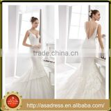 A35 Charming Deep V Neck Lace Appliqued Bridal Party Gown 2016 Full Length Mermaid Tulle Beach Wedding Dress Backless
