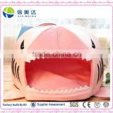Cute Cartoon Soft Warm Short Plush Washable and Detachable Animal Shape Pet Shark Round House Puppy Bed Dog Bed House Kennel wit