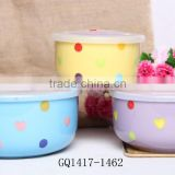 2015 popular ceramic mixing bowl set with lids