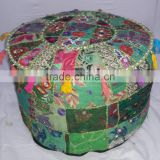 Bohemian Patchwork Pouffe Cover Ottoman Round Antique Furniture Pouf Cover Ottoman Home Decor Cotton Pouf Stool Ottoman Chair
