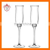 Hand blown tulip shaped glass,champagne flute