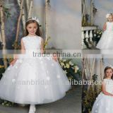 Style MW-002 Ivory Flowers Decal Empire Luxury Ball Gown Flower Girl Wedding Net Dress Patterns