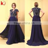 Unique V Neck Handmade Beaded Cap Sleeve Graceful Chiffon Big Size Women Dress Evening Dress
